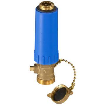Baustopfen 1/2 blau mit Messinggewinde, Füll & Entleerungsventil