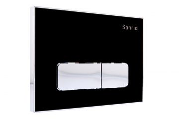 WC Vorwandelement Acryl Drückerplatte schwarz/chrom