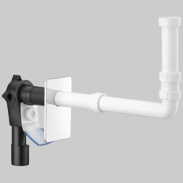 Raumspar-Wandeinbau-Siphon mit Reinigungsöffnung und Ablaufrutsche
