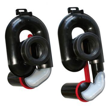 Urinalabsaugesiphon, höhenverstellbar um 65 mm, DN 50, Abgang waagerecht