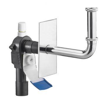Raumspar-Wandeinbau-Siphon OHA 4300 mit Reinigungsöffnung, Ablaufrutsche und Rohrbelüfter