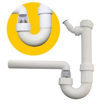 PP-Kugelverschluss-Siphon 1¼ und 1½ mit einem Geräteanschluss