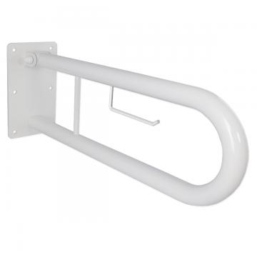 Klappgriff am WC oder Waschbecken für barrierefreies Bad weiß 70 cm ⌀ 32 mm inkl. Toilettenpapierhalter, AN.IBF100466