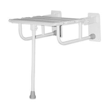 Duschklappsitz mit Wandstützen und Stützbein für barrierefreies Bad. AN. IBF100477