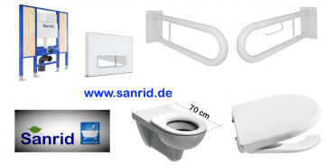 Barrierefreies, Behindertengerechtes WC Vorwandelement, Stützklappgriffe weiß Pulverbeschichtet