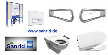 Barrierefreies, Behindertengerechtes WC Vorwandelement, Stützklappgriffe Edelstahl